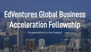 Edventures Global business accelerator banner with congratulations to the finalists